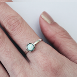 sterling silver snow opal ring