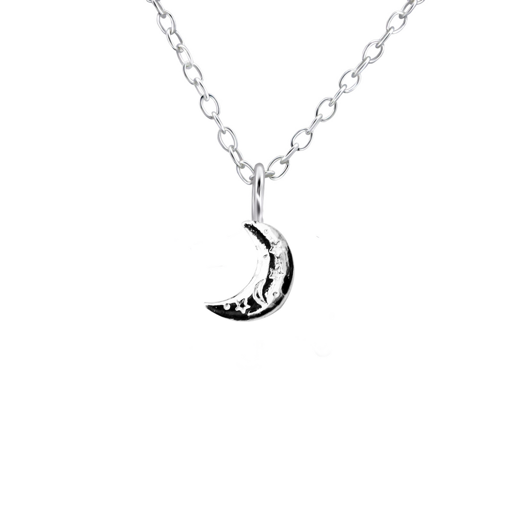 silver starry moon necklace - Jenems