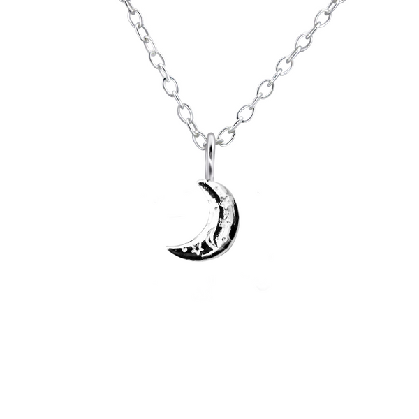 sterling silver starry moon necklace - Jenems