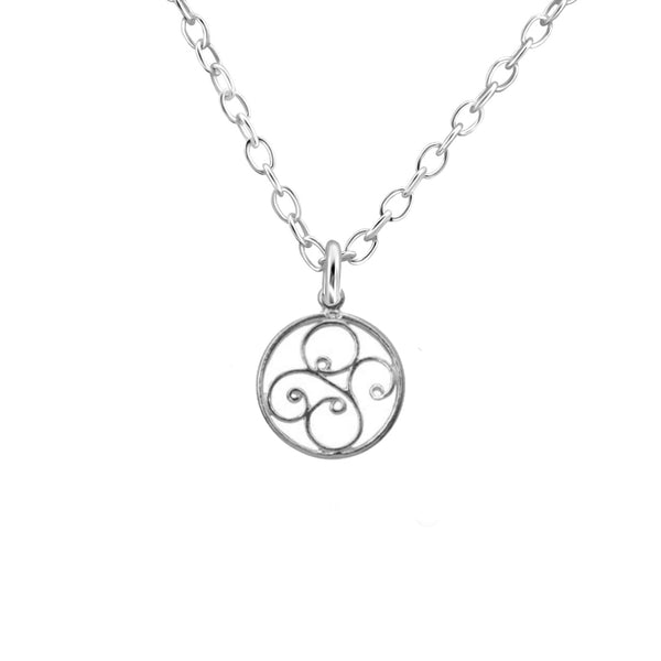 sterling silver swirl disc necklace