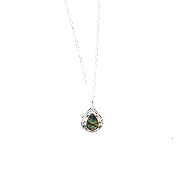 sterling silver tear drop necklace - Jenems
