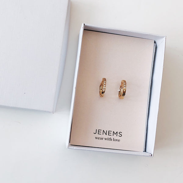 crystal huggie gold hoop earrings - Jenems