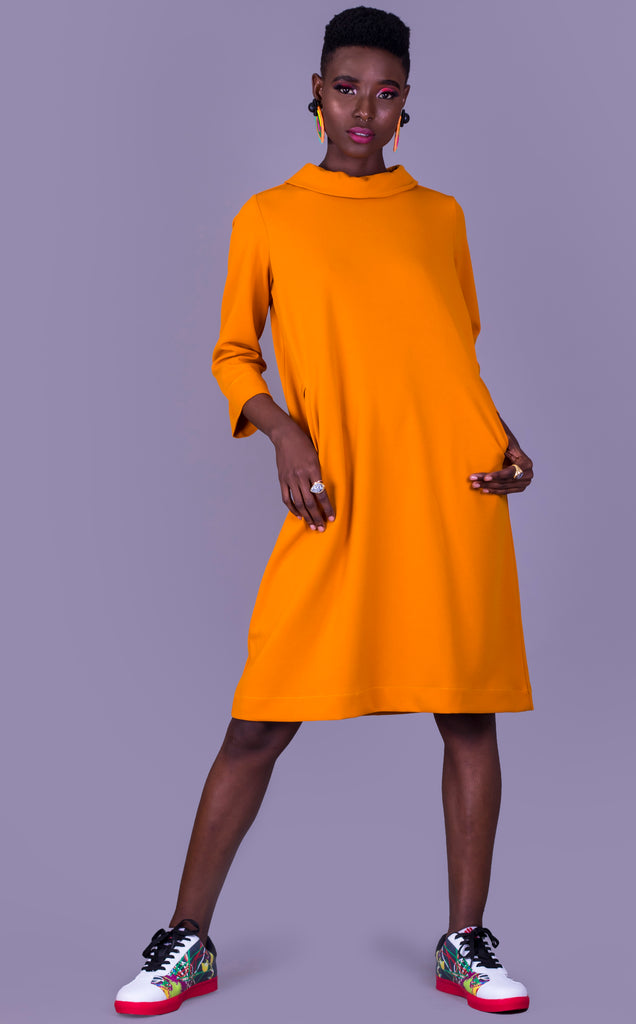 OCHRE SCUBA CREPE IRMA DRESS