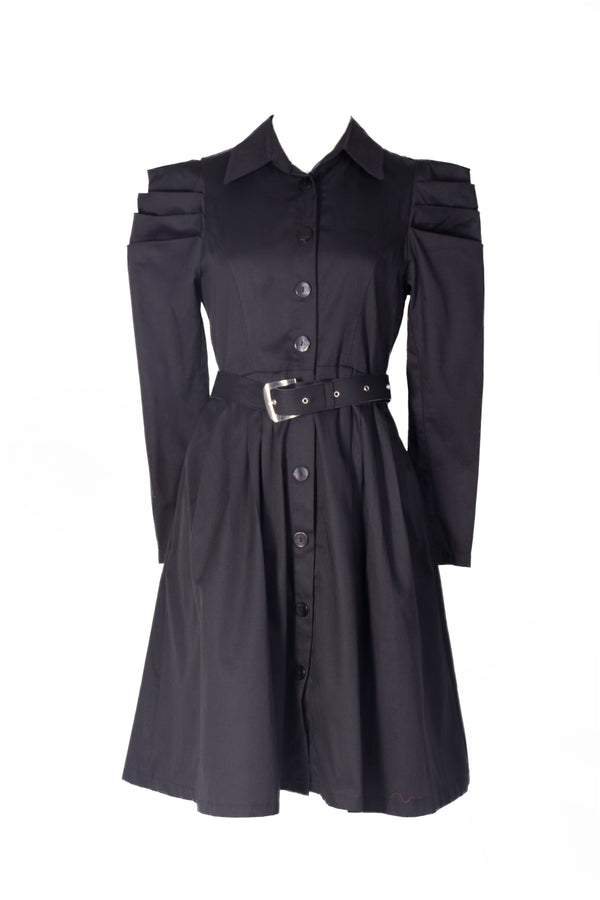 Black Long Sleeves  Pleated Shirt Dress