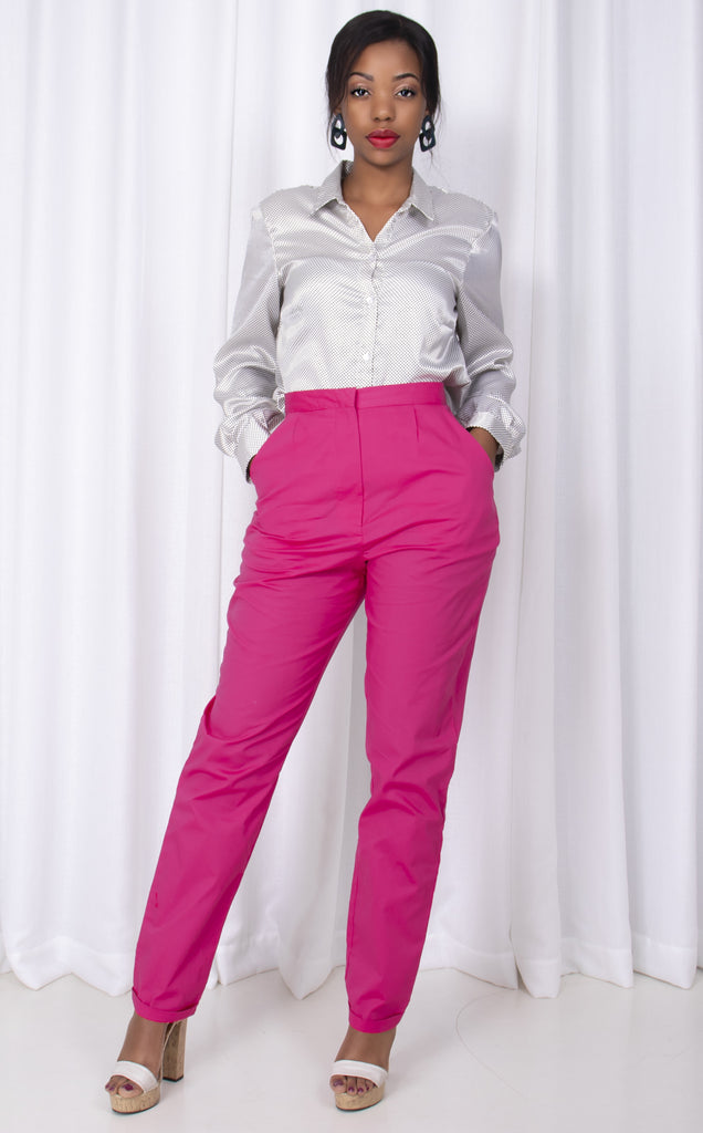 Cigarette Pants- High Waist With Bottom Cuf