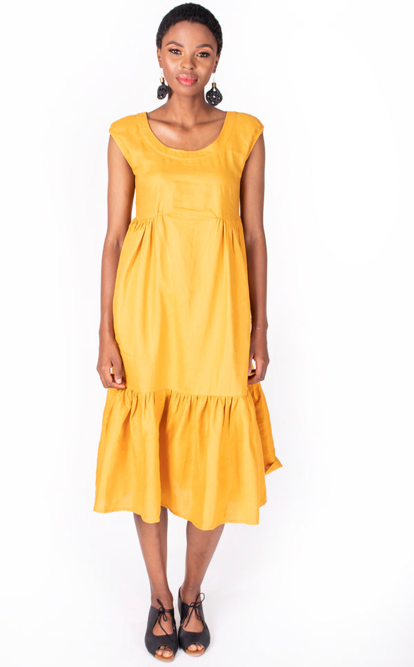 Nosisi Dress - Tumeric Linen Summer Dress