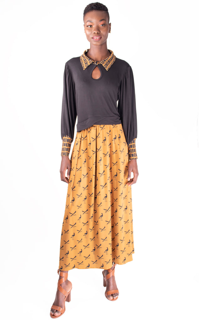 Camel And Black Storks 3 In 1 Dress ( Long Sleeves Top And Maxi Skirt)