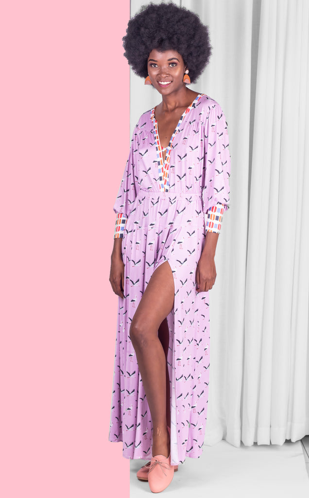 Pink Storks Maxi Dress With Long Sleeves