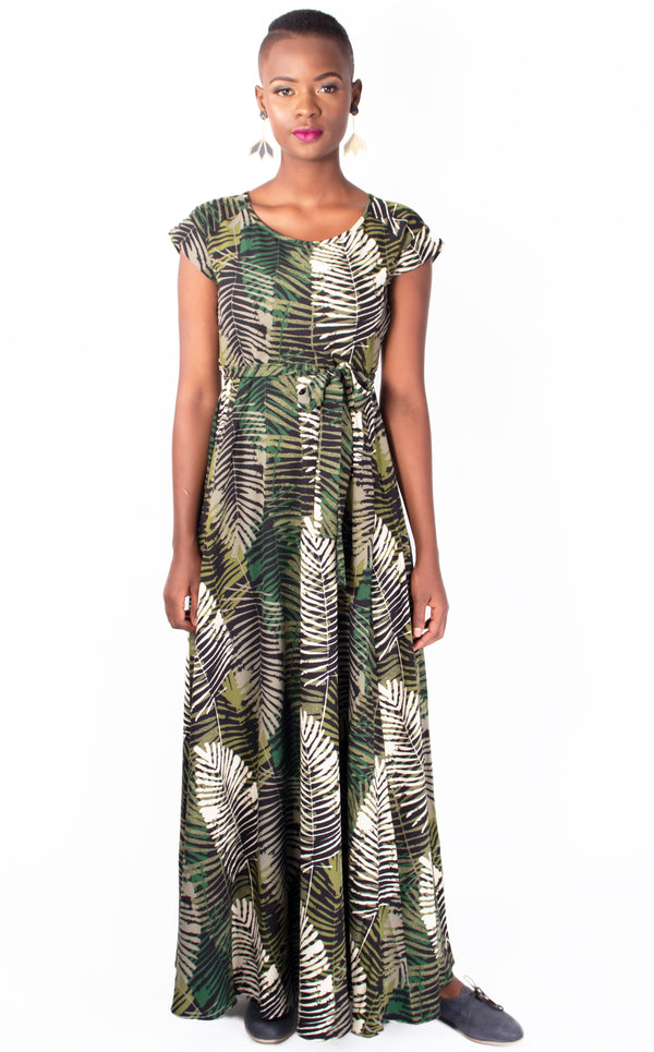 Katya Dress - Green and Olive Leaf Print Maxi Dress