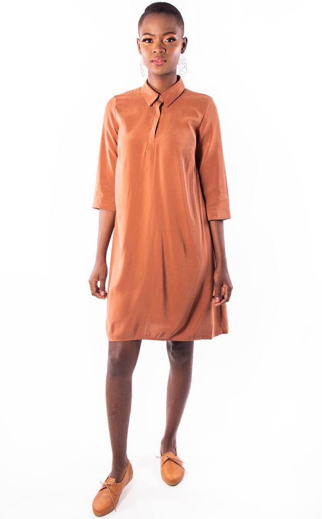 Maputo Tunic - Rust 3/4 Sleeve Summer Shirt Dress