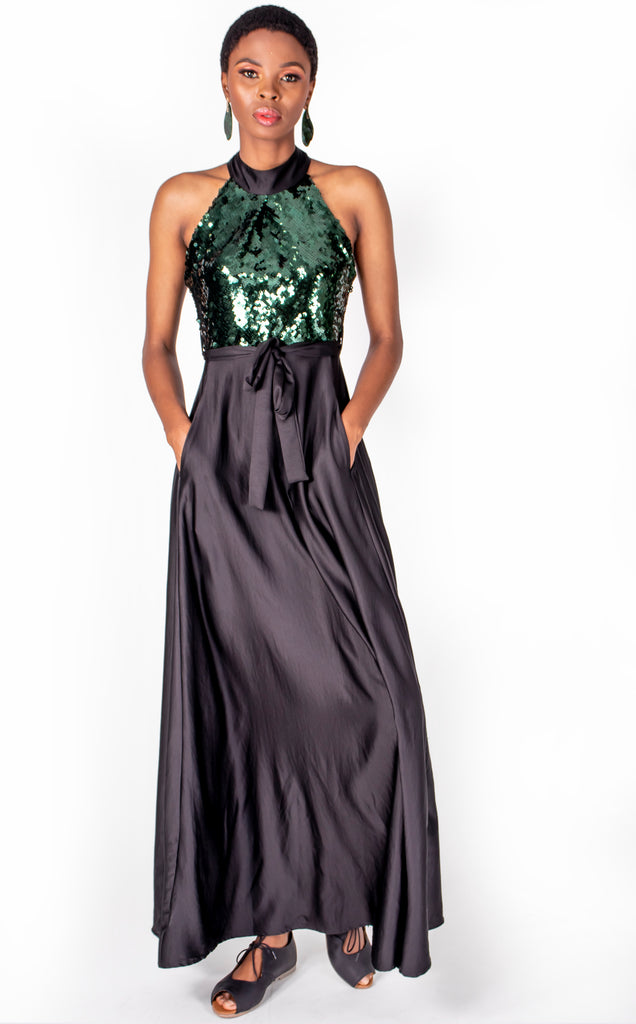Mthandeni Dress - Black and Green Sequin Maxi Dress