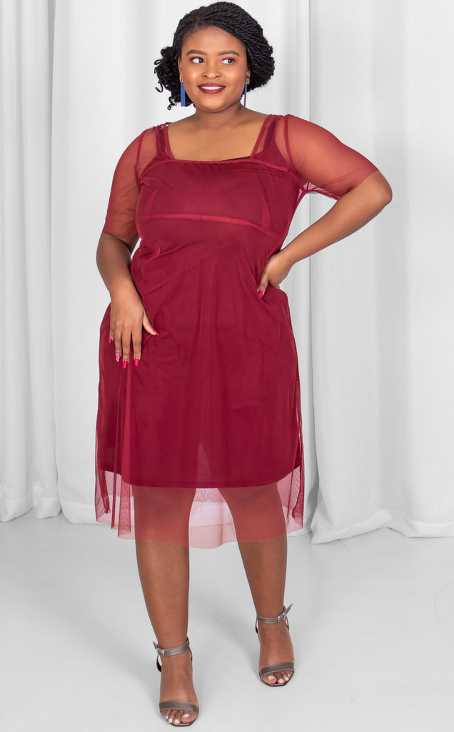 Clara Dress - Maroon Sheer Summer Dress