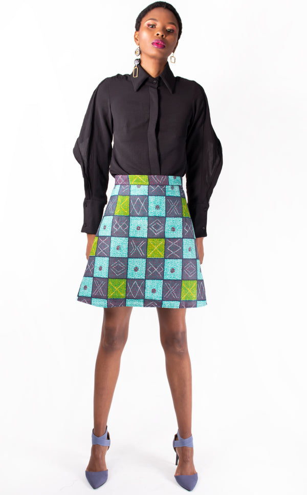 Checkers Print Mini Skirt - Multi Cotton A-line Mini Skirt