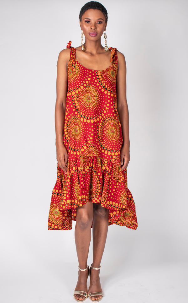 Maqoma Dress- A-Line Dress With Tie-Up Strings, And Gatheres Bottom