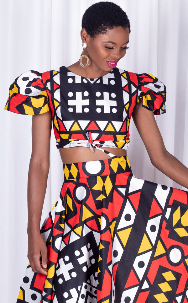 Ndebele Crop- Two In One Crop Top With Tie-Ends, Frill Cup Sleeves. Worn Fron To Back Or Back To Fro