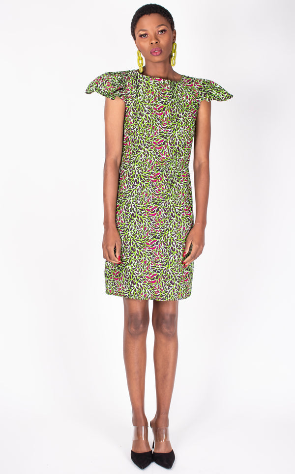Nina Dress- Ankara Print,Shift With Pleated Cup Sleeves
