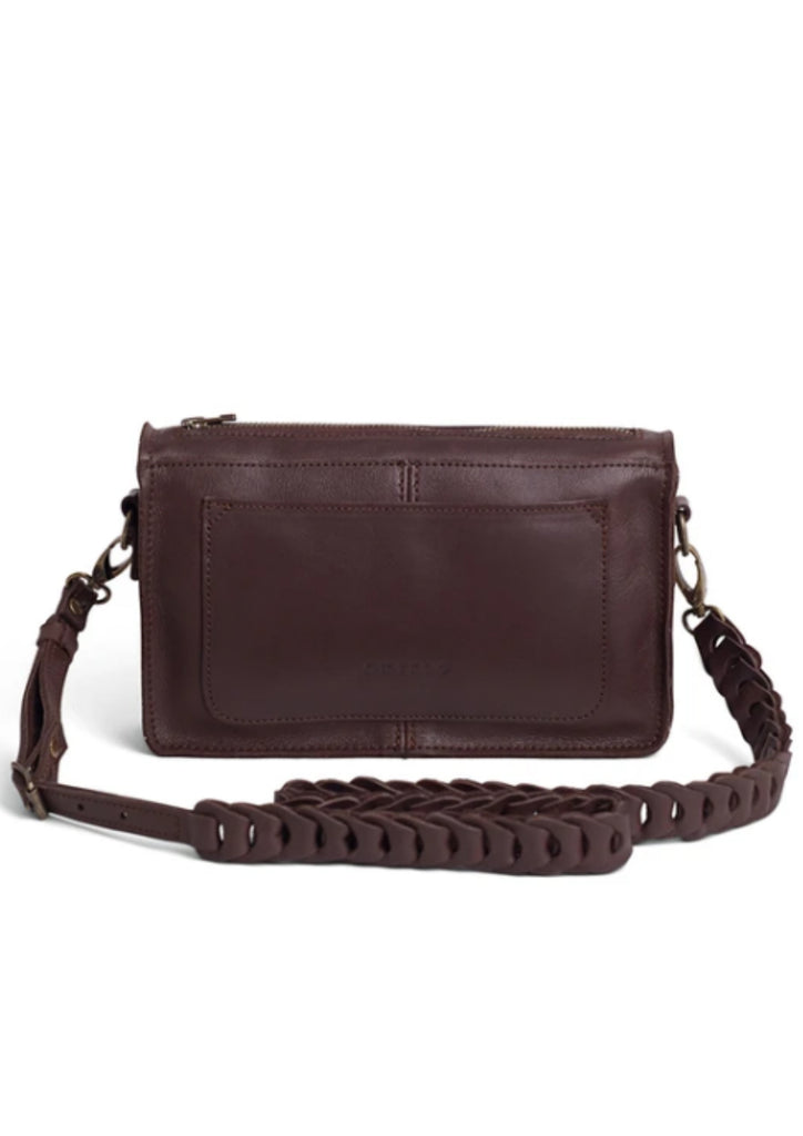 BAILEY LEATHER INTERLINK CROSSBODY - BROWN