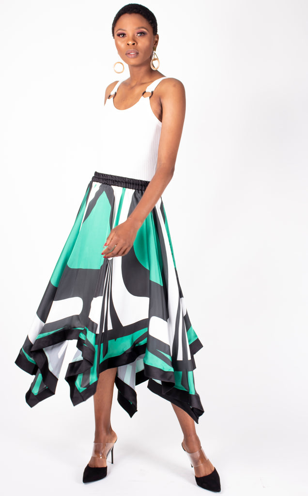 Belle Skirt - Asymmetrical green, black & white graphic skirt
