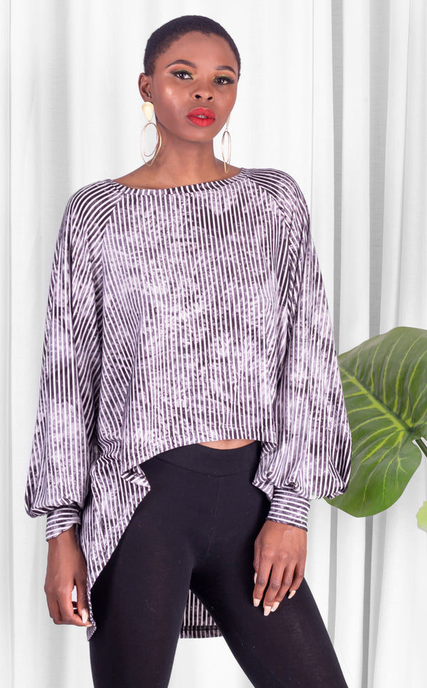 Hi-Lo Casual Top With Billowy Sleeves