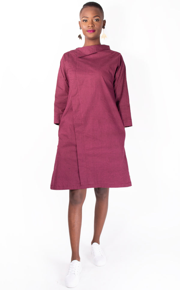 Burgundy Spot Hitomi Dress with Side Collar