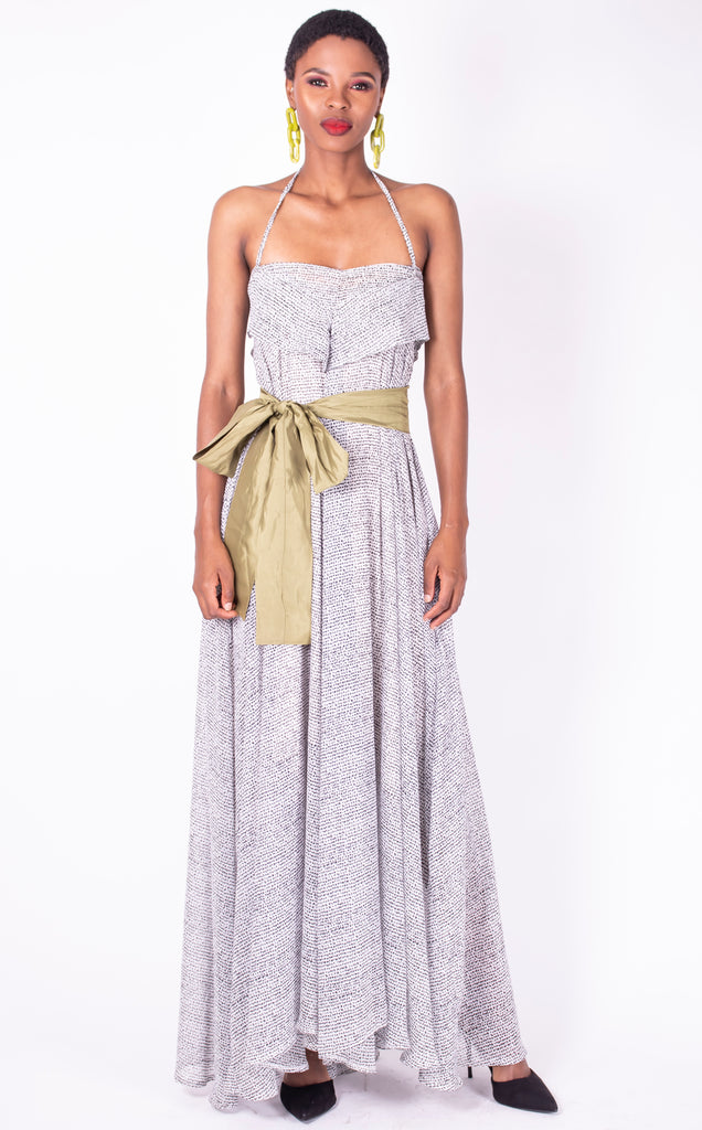 "White-spotted maxi ""Ida"" dress"