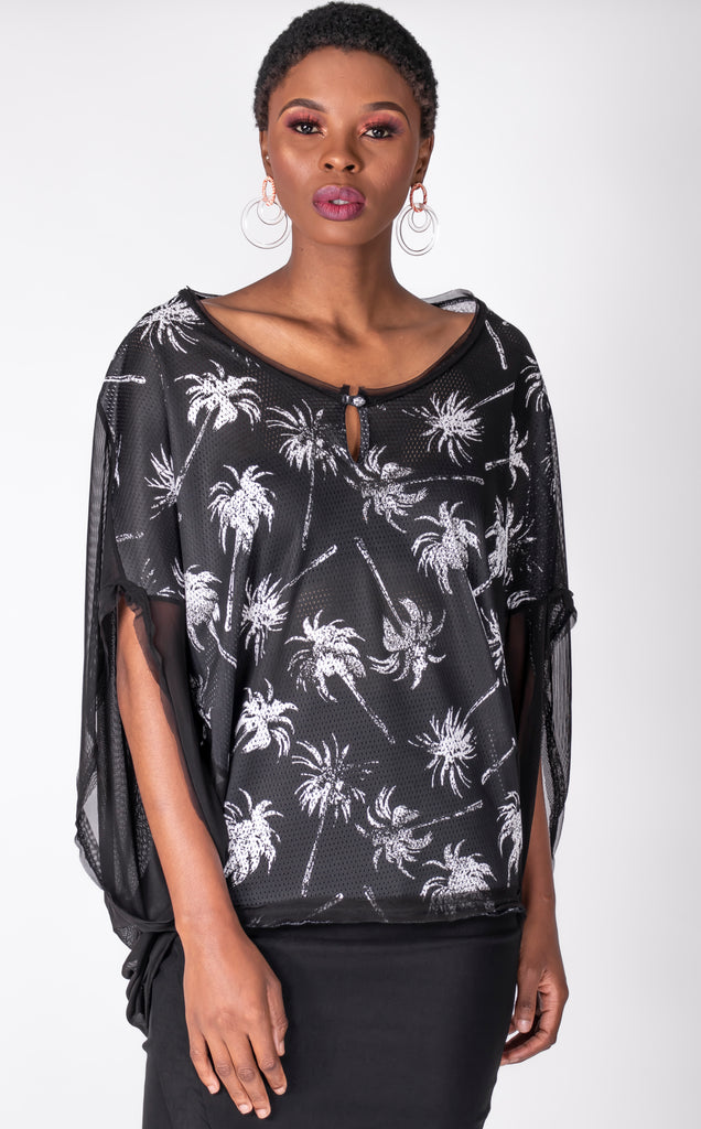 BLK/WHITE PALM CAPSULE TOP