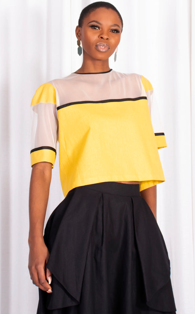 Citron Linen Top With Mesh.