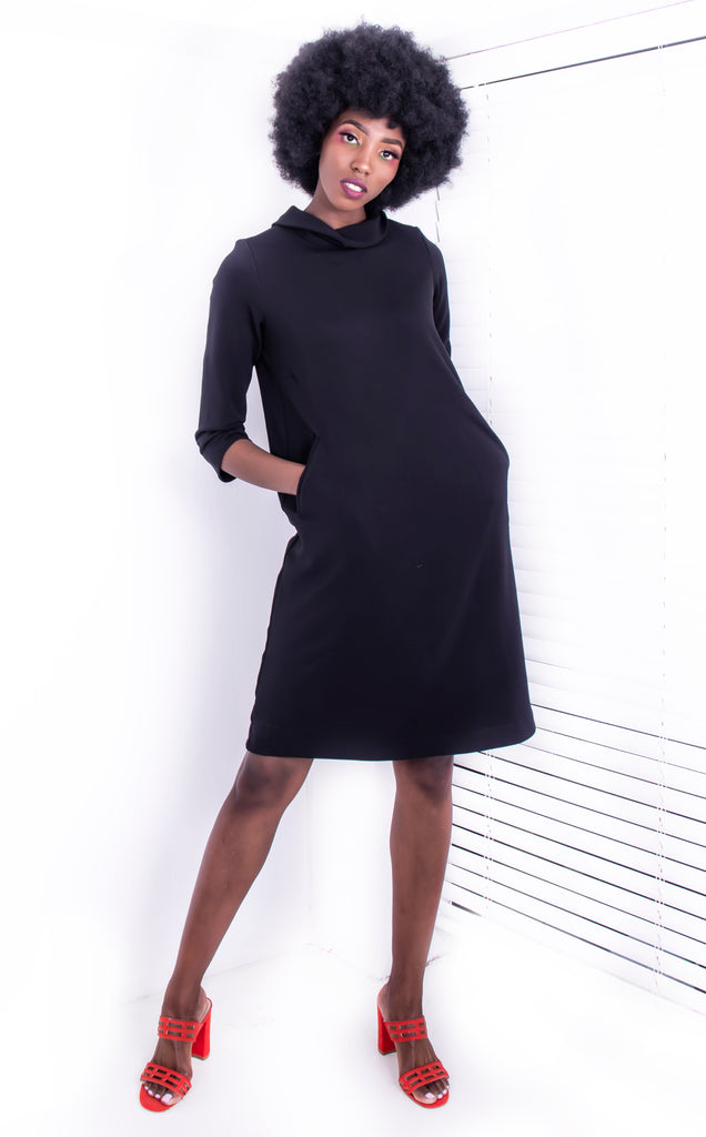 BLACK OTTOMAN RIB IRMA DRESS