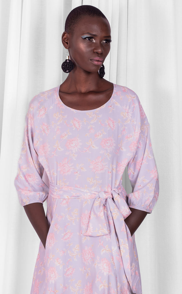 Elisa Dress -  Pink/Nude Rayon 3/4 Sleeve Maxi Dress