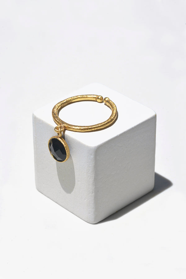 Black Onyx Droplet Stack Ring