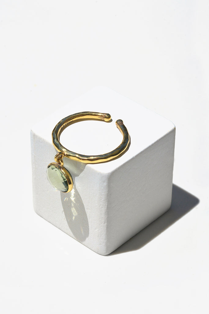 Green Amethyst Droplet Stack Ring