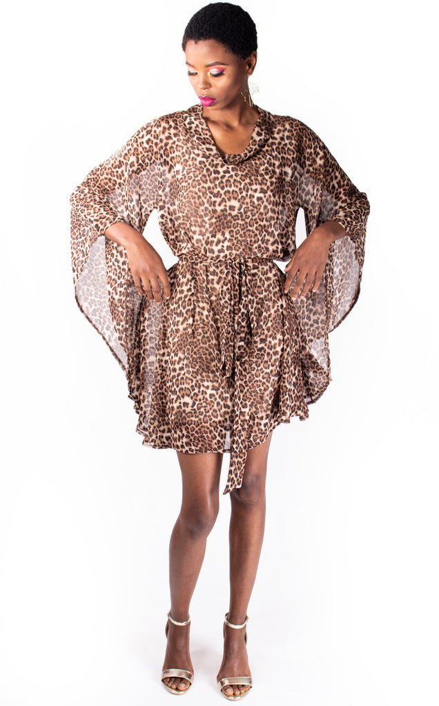 Swing Tunic & Tie - Leopard Print Chiffon Summer Dress