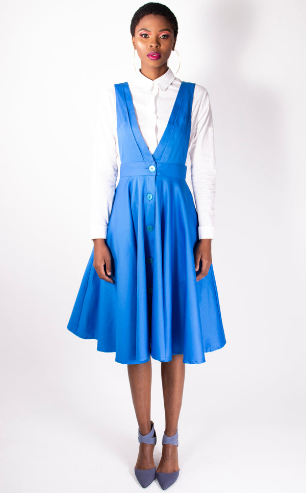 Blue Dungaree-style, flared dress