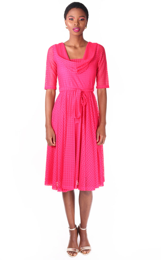 Pink Delphine Dress - Draped Neckline