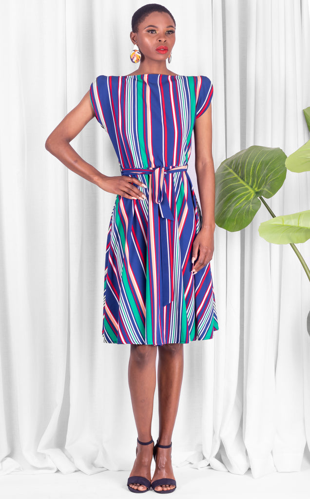 Blue Midi Striped Samantha Dress
