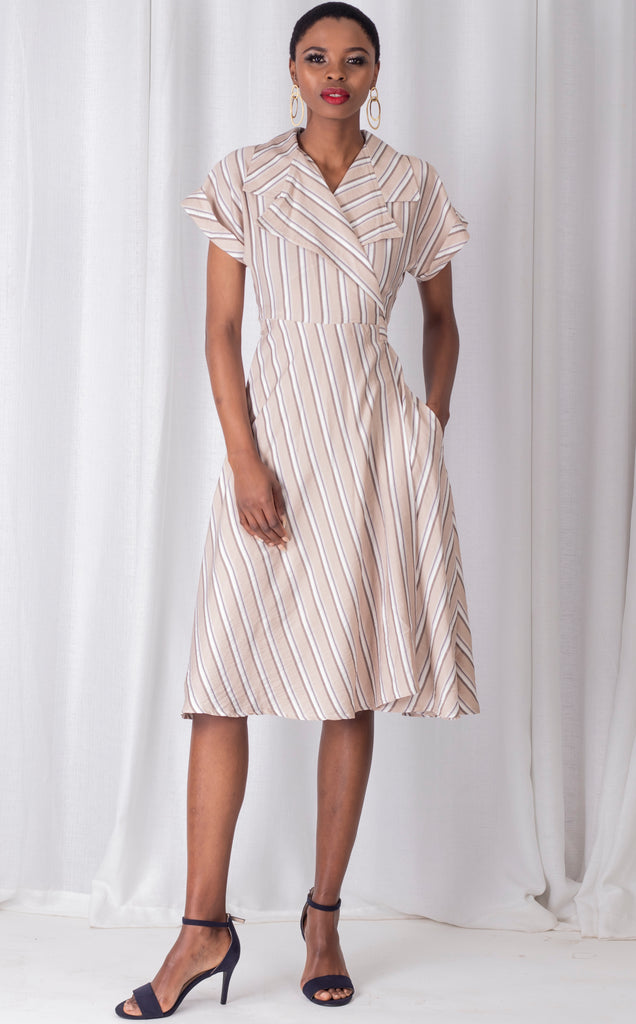 Nude Striped Wrap Around Dress