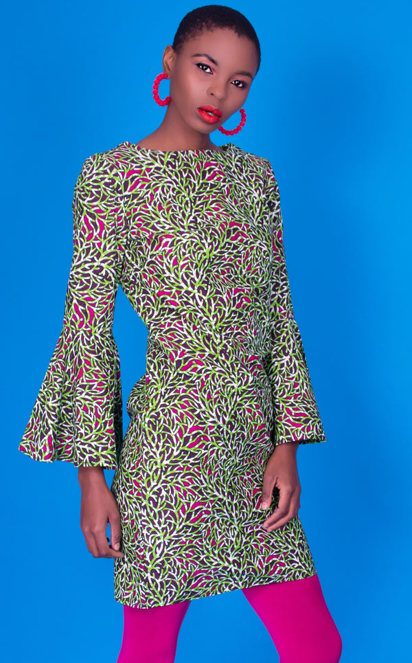 Nina Dress - Ankara Print, Shift With Bells Sleeves