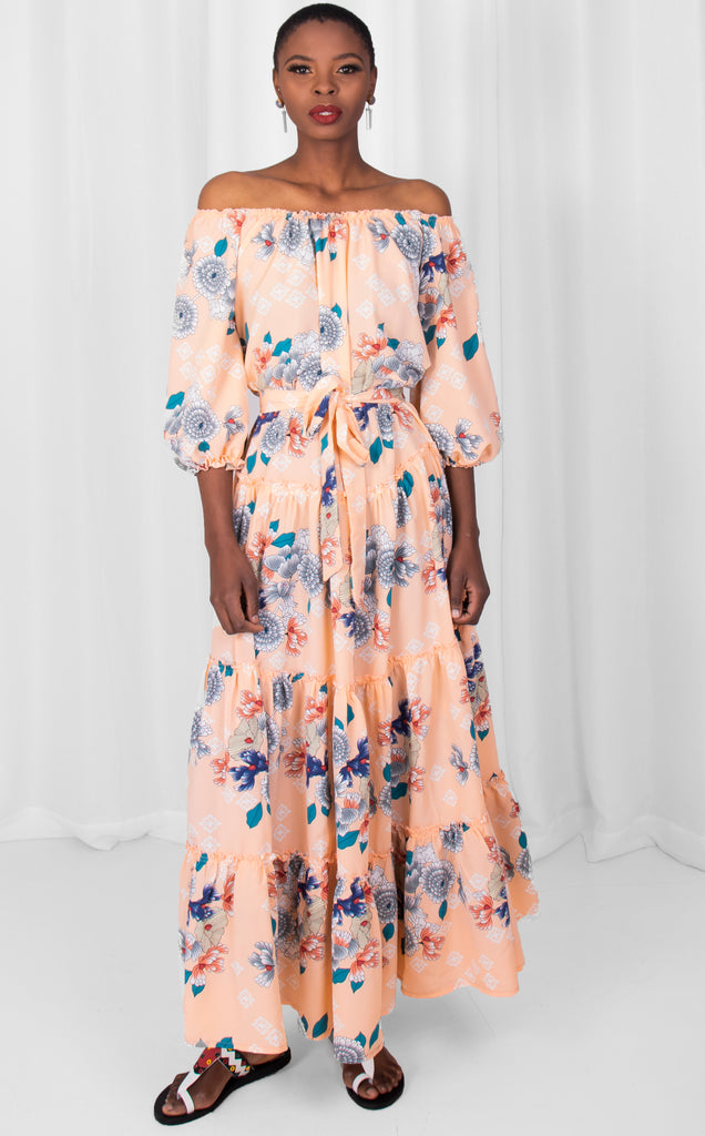 Peach/Blue Raglan Maxi Dress