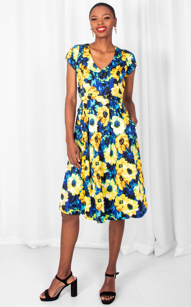 Yellow/Blue Floral A-Line Dress