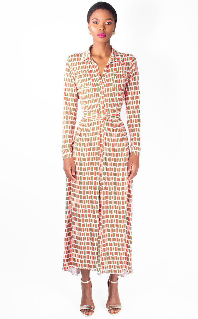 Geo Print, Long sleeve, Maxi Dress With Belt