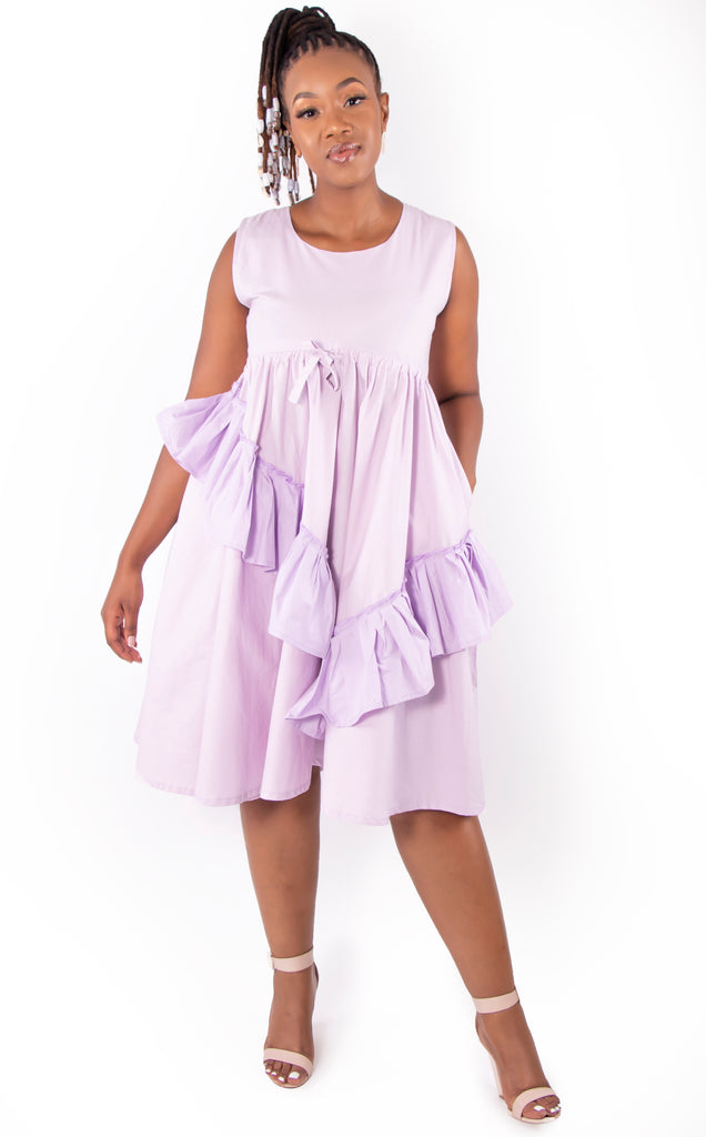 Draw String Ruffle Dress