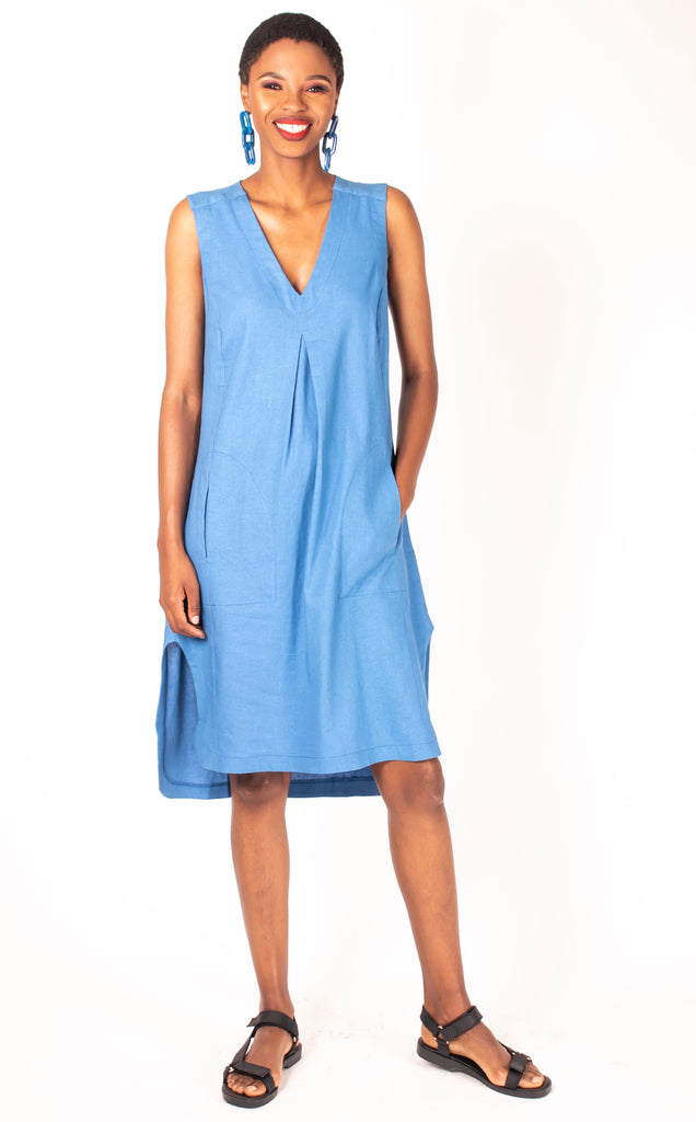 Ines Tunic - Powder Blue Sleeveless V Neck Tunic