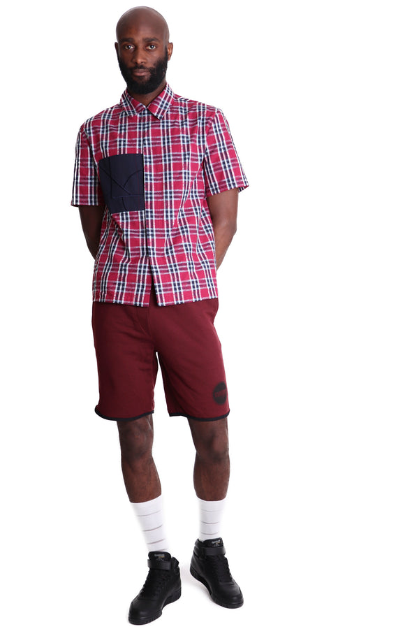 Custom Fleece Cotton Shorts - Burgundy