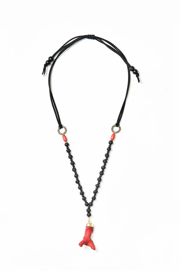 ADJUSTABLE BEADED CORAL NECKPIECE