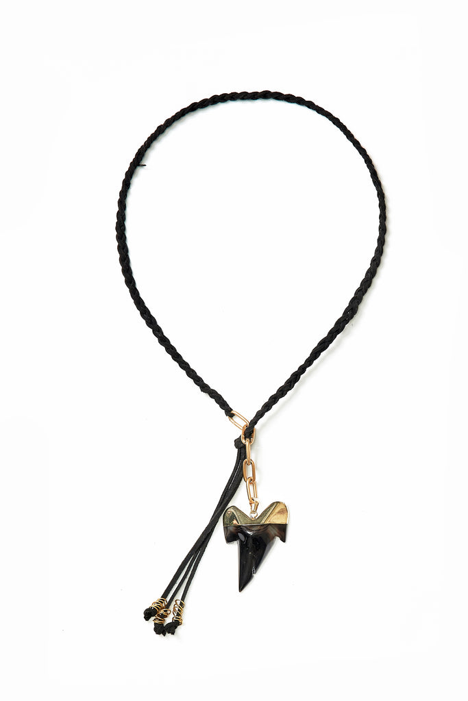 SUEDE NECKPIECE WITH SHARK TOOTH