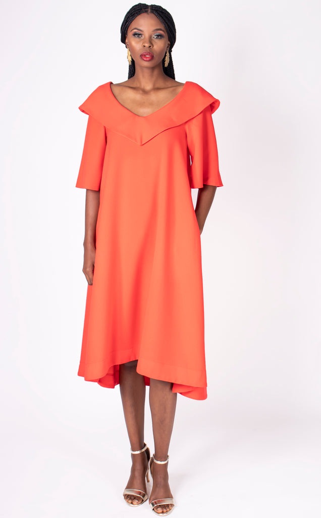 Fiona - modest, loose fit, scooped V neck dress