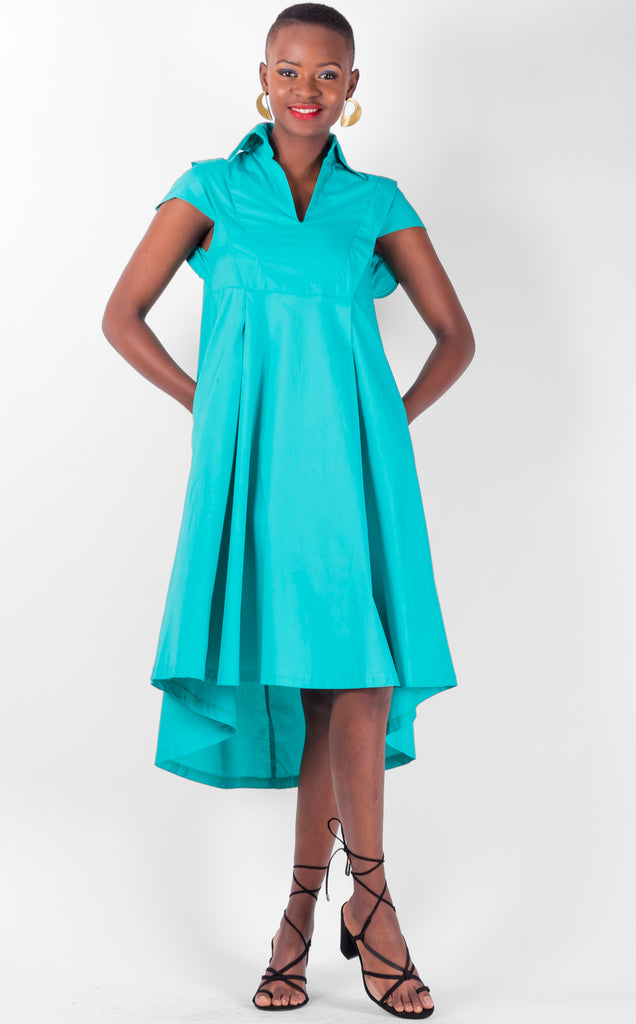 Lola - V neck, collared, capped sleeved, flared dress