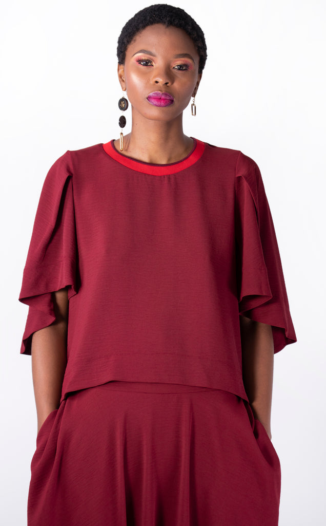 Boris Top - round neck top with waterfall sleeves