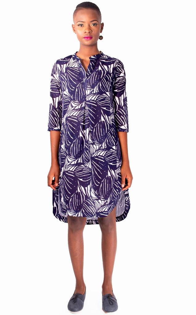 Lungro Kaftan - Blue and White Leave Print Cotton Tunic