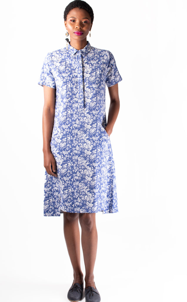 Nolwazi Tunic - Blue and White Floral Print Linen Tunic